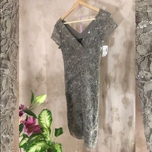 Taupe lace sparkle dress; new with tags